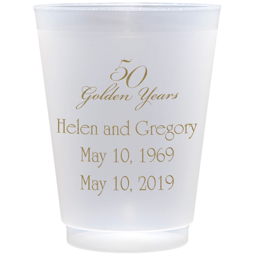 Clear frosted plastic cups with 50 Golden Years AN202 design and three lines of print in Poised lettering style and Gold imprint color