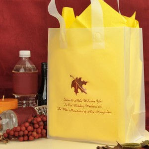 Custom printed gift bag with fall leaf design