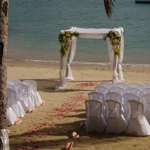 Gazebo and chairs on beach for beach wedding ceremony