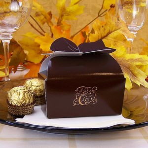 Monogrammed bow top favor box with truffles