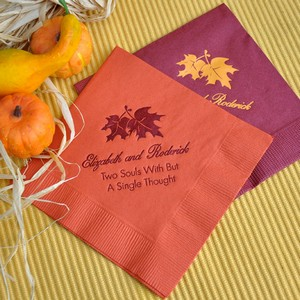 Personalized fall wedding napkins