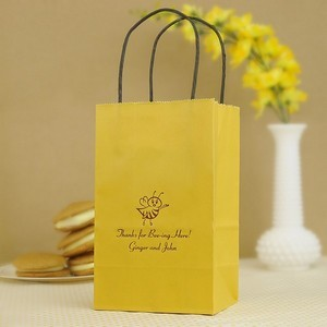 4 x 6 x 8 petite gift and goody favor bag custom printed with bee design and two lines of custom print
