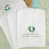 White candy bags printed with metallic moss imprint color, Tempo letter style, and baby design JV16
