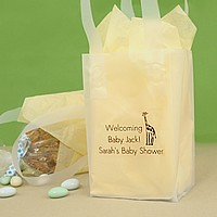 Clear frosted mini gift bags printed with Metallic Copper imprint, Animal design JV67, and Tempo letter style