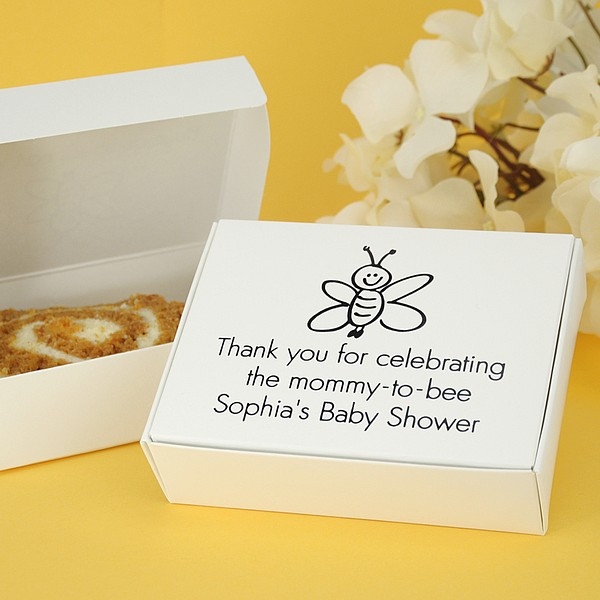 White cake box printed with black imprint color, Tempo lettering style, and Animal Design JV76