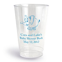 12 oz personalized clear plastic tumbler printed with Bue imprint, 2077 Baby Design, and American Lettering Style