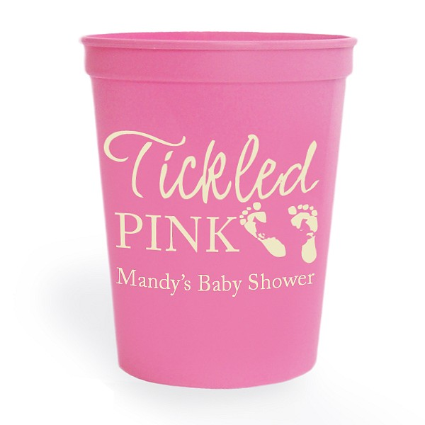 Personalized Pink stadium cup printed with Ivory imprint color, baby design 1161, and special instructions to print line 1 in Licorice, and the remaining lines in Americana along with the design placement on line two and all text justified