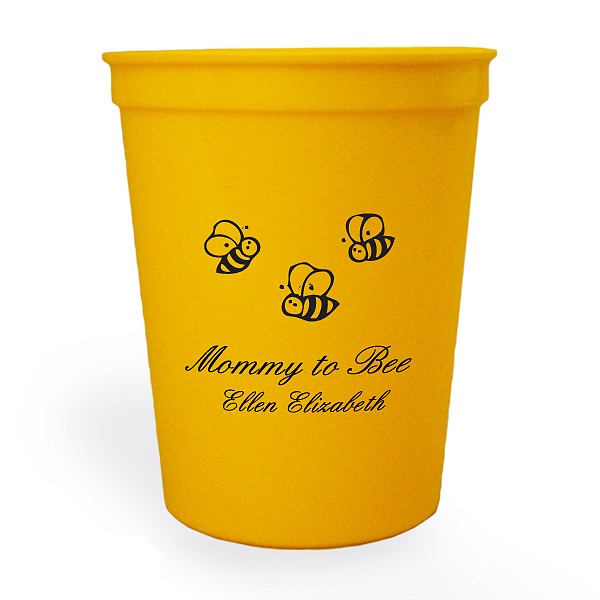 Personalized Yellow stadium cup printed with Black imprint color, Baby Design 10555, and Original Script lettering style