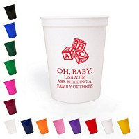 Personalized 16 oz baby shower stadium cups in an assortment of color options