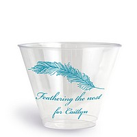 Personalized plastic cup printed with Turquoise imprint, Baby Shower deisgn B1102, and Bickham lettering style