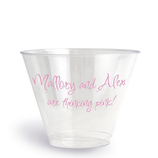 9 oz clear plastic cups for baby shower personalized with Inspiration lettering style and Pink imprint color