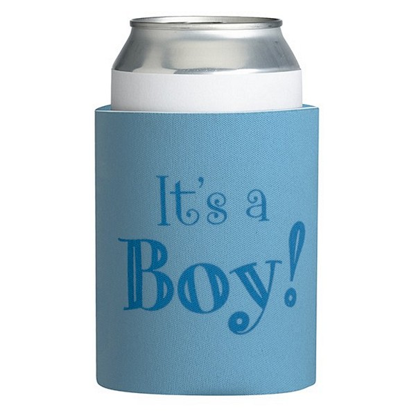 Blue neoprene can cooler with It's a Boy silk screened on the front