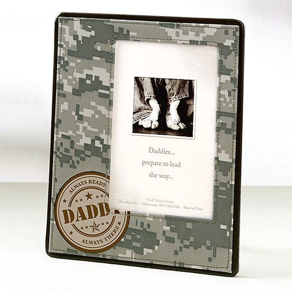 Military themed camo print picture frame for dads