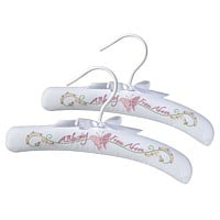 White baby clothes hangers with butterfly embroidery