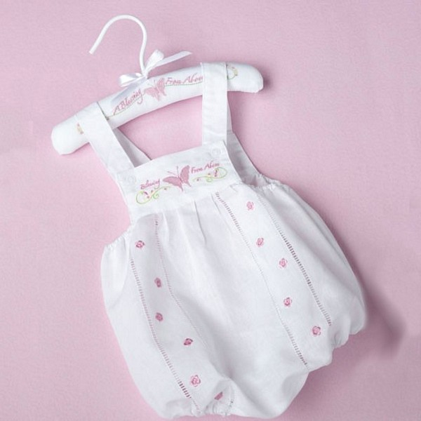White baby romper with butterfly embroidery design