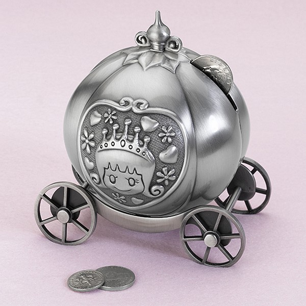fairy tale coach pewter bank