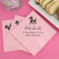 Classic pink cocktail napkins  printed with black imprint color, animal design JV66, and special instructions to print line one larger in Mayfair Cursive, and remaining lines in Tempo