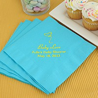 Bermuda blue luncheon napkins printed with Kids Design JV64, Yellow Matte imprint color, and special instructions to print line one larger in Coronet and lines 2 and 3 in Caslon letter style
