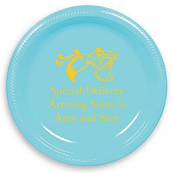Carribbean Blue 7 inch round plastic plate printed with yellow imprint color, baby design 1168, and American lettering style