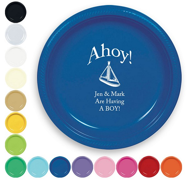 7 Inch plastic plates in assorted colors with custom print. Featured plate is blue with white imprint color, baby design 2083, and americana lettering style with special instructions to arch line 1 above the design
