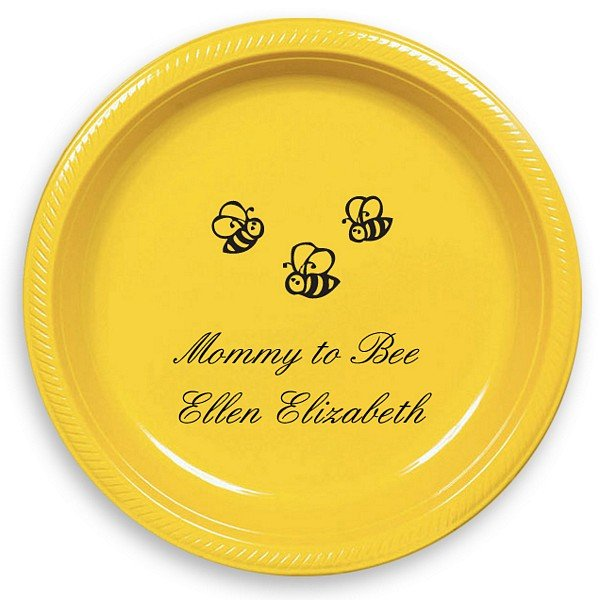 Yellow 7 inch round plate printed with Black imprint color, Baby Design 10555, and Original Script lettering style
