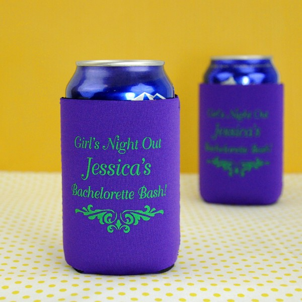 Personalized collapsible can coolers for bachelorette party