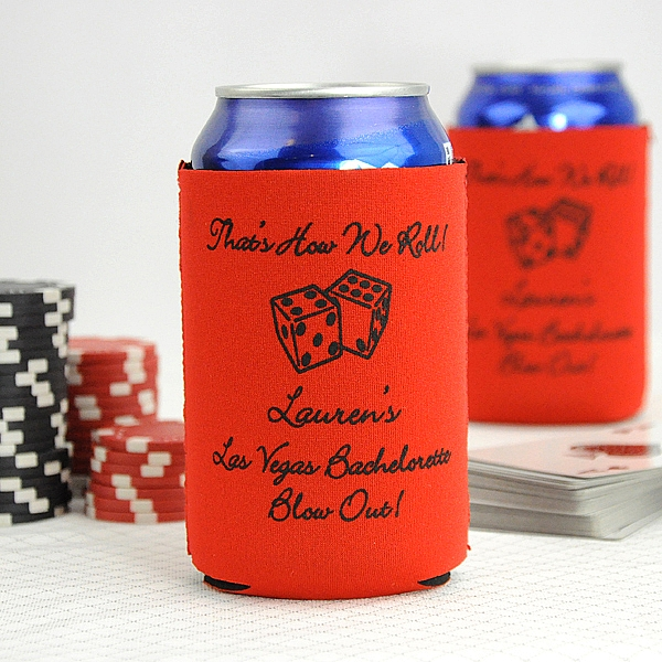 personalized red can cooler with black imprint