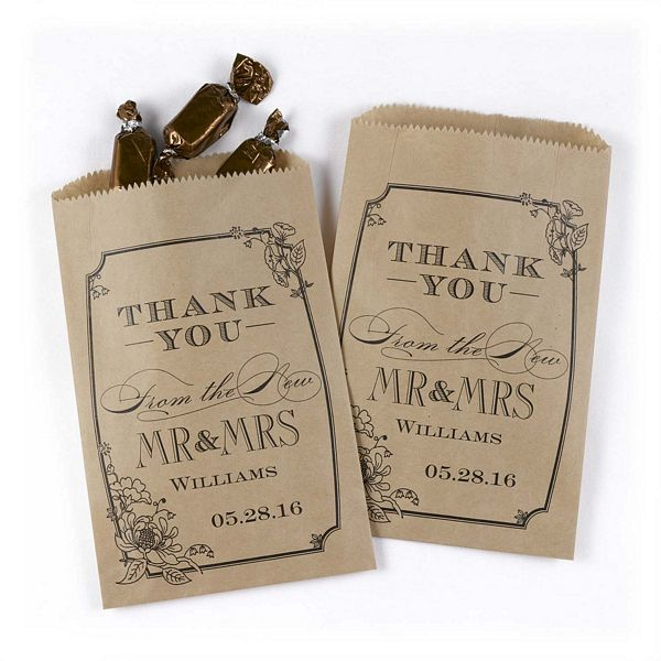 Personalized Kraft Vintage Floral Treat Bags