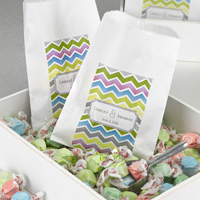 5 x 7 White personalized treat bags with colorful chevron design