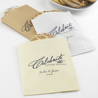 5 x 7 Personalized celebrate the little things bags in kraft, ivory and white with midnight matte imprint color