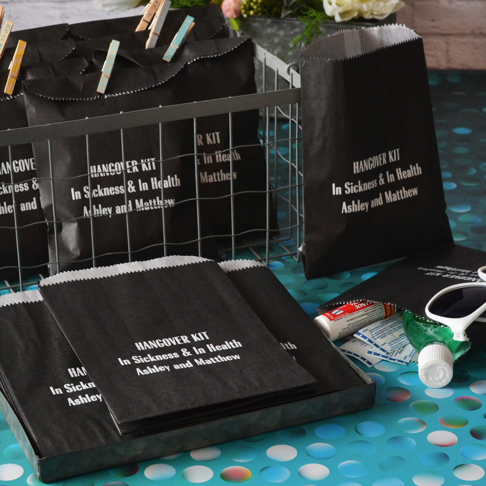 6 x 8 Custom Printed Wedding Hangover Survival Kit Favor Bags in black with white matte imprint and three lines of text in radiant bold condensed lettering style