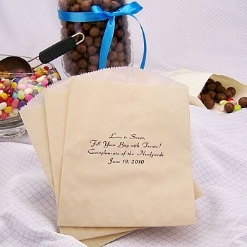 Personalized candy bags in assorted sizes, shapes and colors