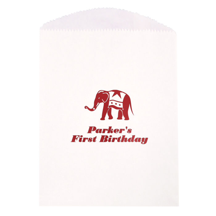 Personalized circus cake and candy bags white with metallic red imprint