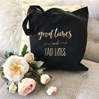 Welcome guests to your tropical destination wedding with Good Times & Tan Lines canvas hotel tote bags.  Fill with sunscreen, sunglasses, water bottles, Limearitas, your wedding itinerary, brochures for area hotspots and local treats for guests to enjoy through the weekend.