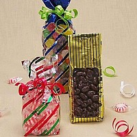Half pound striped cellophane goody bags in assorted colors