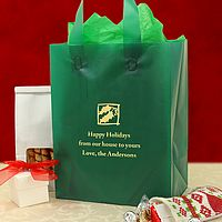 Personalized dark green frosted gift bags printed with Metallic Gold imprint color, CMS 59 design, and three lines of text in Caslon lettering style