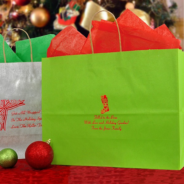 Gift bags personalized christmas kraft large