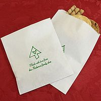 White Christmas candy bags printed with Shamrock matte imprint color, CMS 55 design, and two lines of text in Mayfair Cursive lettering style