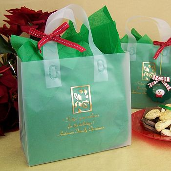 Wedding Gift Bag Ideas Washington Dc : Clear Christmas gift bags printed with Antique Satin imprint color ...