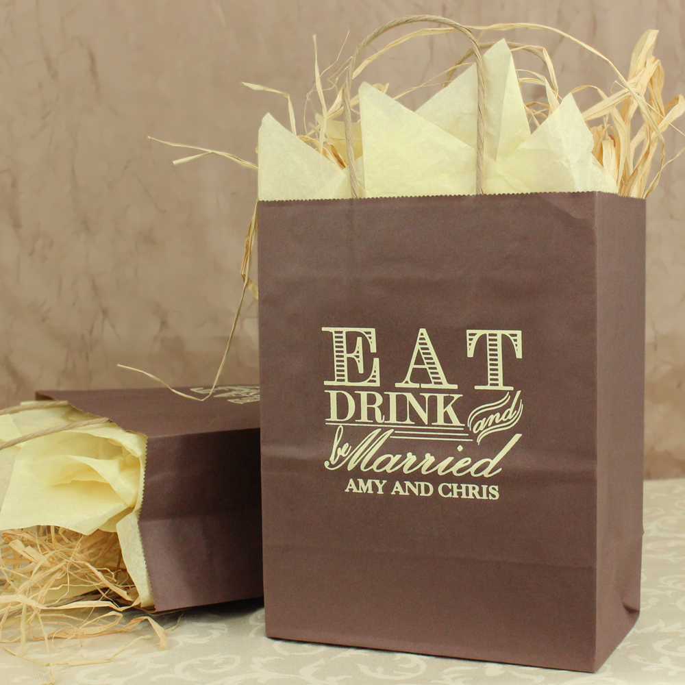 Chocolate brown eat, drink, and be married wedding gift bags printed with Ivory Matte imprint color