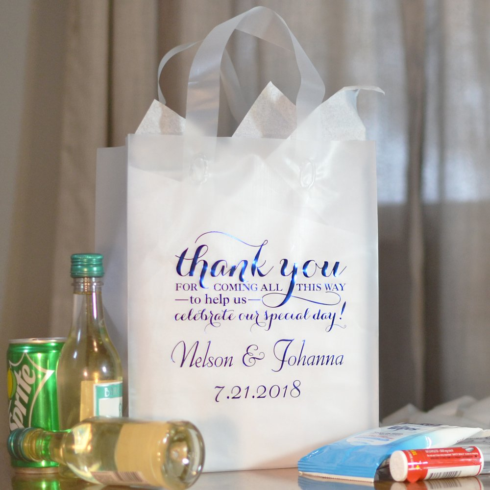 8 x 10 Clear frosted Out of Town wedding gift bag personalized with WB019 Thank You Special Day design, bride and groom's name and wedding date with Florentine Cursive letter style in Metallic Royal Blue imprint color