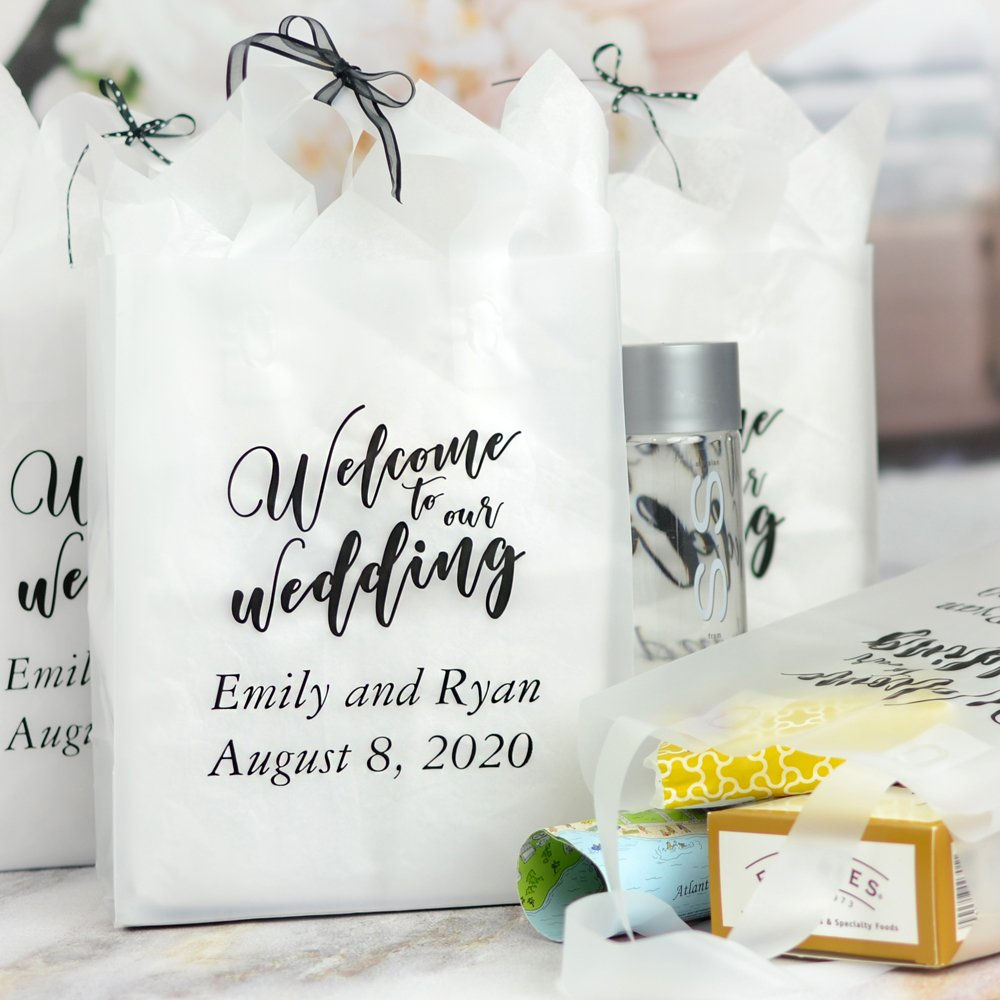 Clear 8 x 10 clear frosted gift bag personalized with Welcome Wedding Bold design, bride and groom's name and wedding date with Garamond Italic letter style in Ebony Matte imprint color