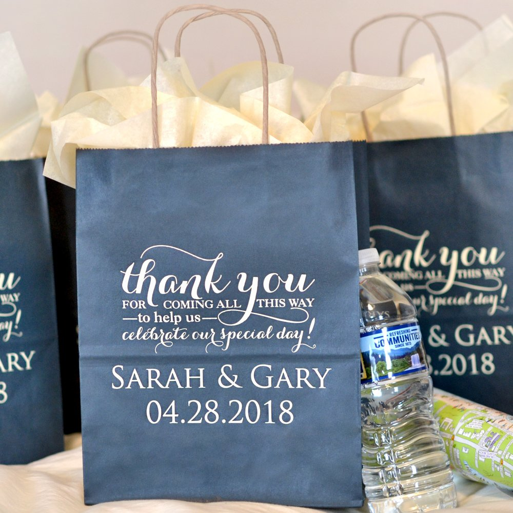 Navy color kraft guest gift welcome bag custom printed with Ivory Matte imprint color, WB019 Thank You Special Day design, and two lines of text in Trajan letter style