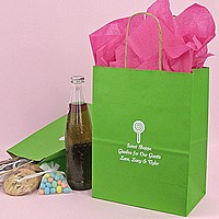 Apple green color wedding gift bags personalized with design and 3 lines of custom print in white imprint color