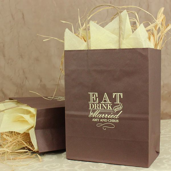 Wedding Gift Bags Online : 10 Eat Drink and Be Married Personalized Gift Bags