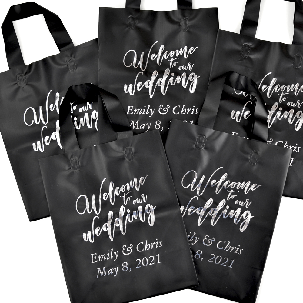 Black frosted bag printed in metallic silver imprint color, Garamond Italic lettering style, and the WB005 welcome design
