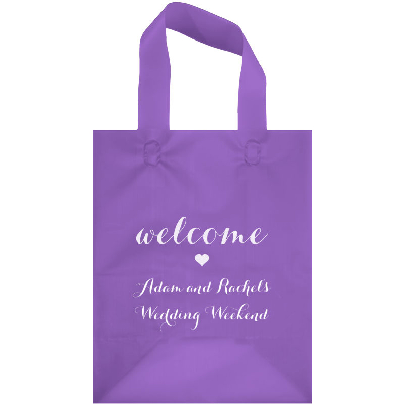 Grape frosted hotel guest gift bag printed in white matte imprint color, Carolyna lettering style, and the WB002 Welcome Heart design