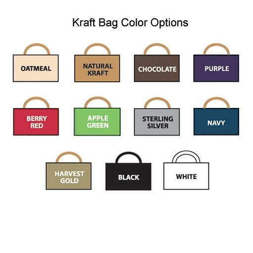 Choose from 26 vivid colors when ordering your personalized cub size kraft gift bags for your wedding or party out of town guests