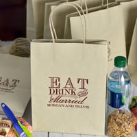 Oatmeal eat, drink, and be married wedding gift bags printed with Chocolate Matte imprint color