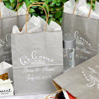 Personalized wedding welcome bags in various style, size, and color options